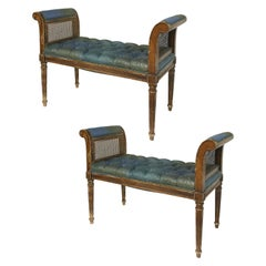 19th Century Louis XVI Style Caned Benches with Tufted Seats