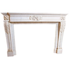 19th Century Louis XVI Style Carrara Marble Fireplace Surround / Mantel