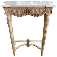 19th Century Louis XVI Style Carved and Bleached Walnut Console