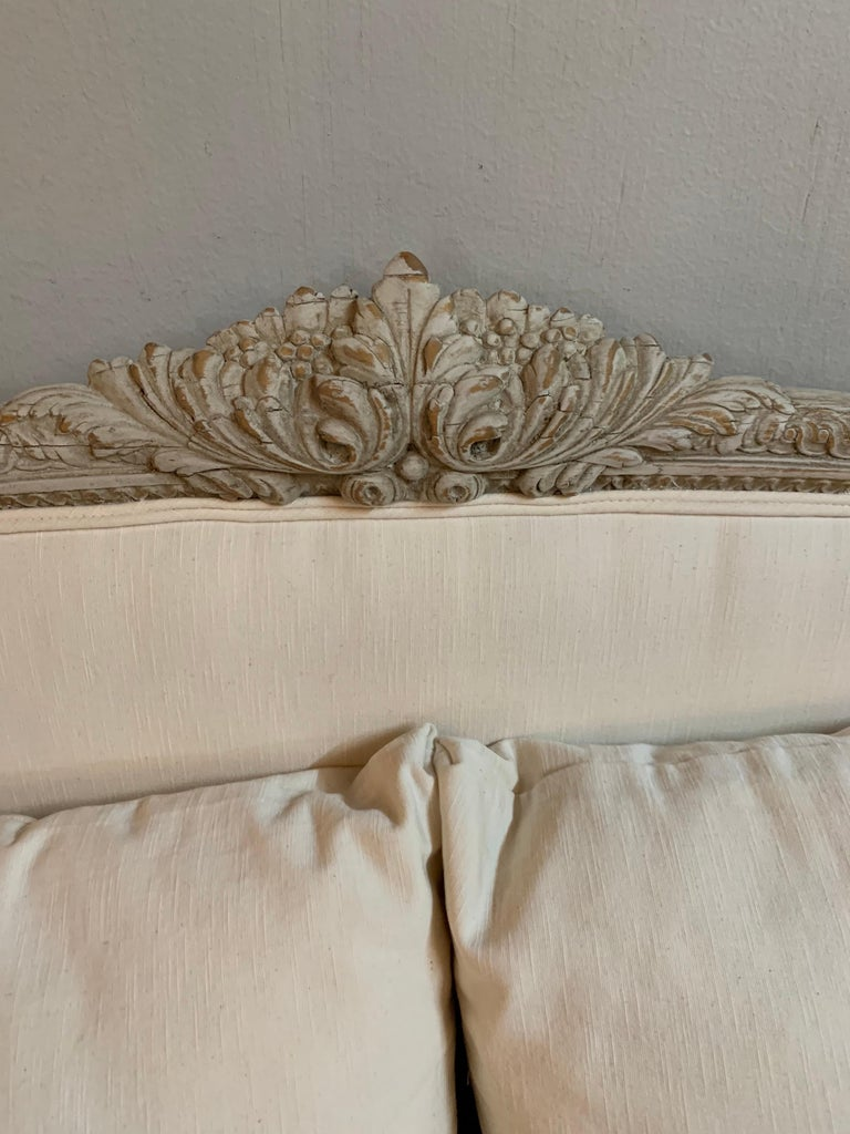 French 19th Century Louis XVI Style Carved and Painted Sofa For Sale