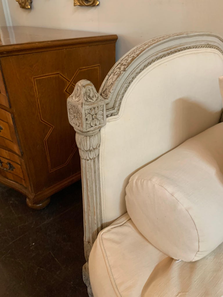 19th Century Louis XVI Style Carved and Painted Sofa In Good Condition For Sale In Dallas, TX