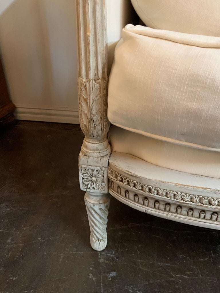 Linen 19th Century Louis XVI Style Carved and Painted Sofa For Sale
