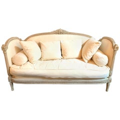 19th Century Louis XVI Style Carved and Painted Sofa