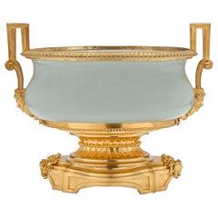 19th Century Louis XVI Style Celadon Porcelain and Ormolu Oval Centerpiece