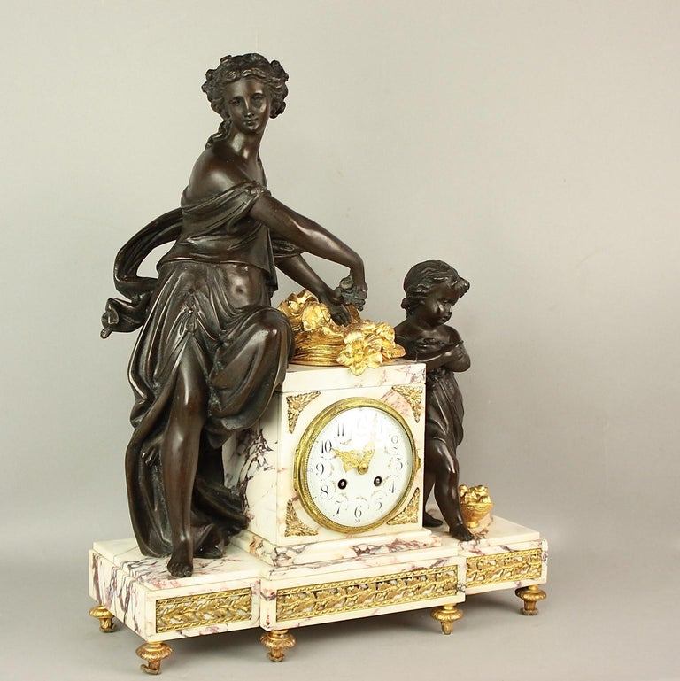 Belle Époque 19th Century Louis XVI Style Clock Garniture For Sale