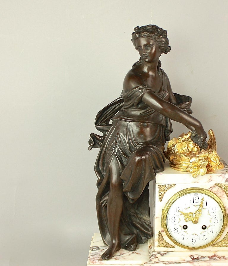 French 19th Century Louis XVI Style Clock Garniture For Sale