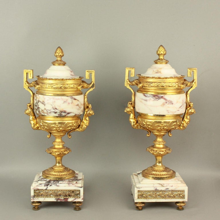 Marble 19th Century Louis XVI Style Clock Garniture For Sale