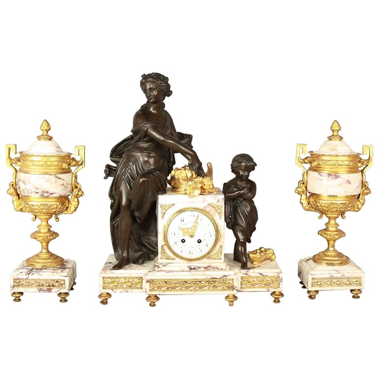 19th Century Louis XVI Style Clock Garniture For Sale