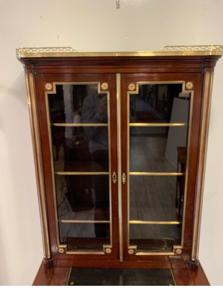 European 19th Century Louis XVI Style Diminutive Two Part Bookcase on Desk/Secretary For Sale