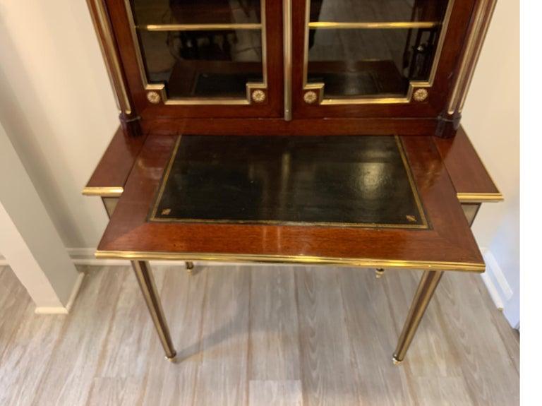 Brass 19th Century Louis XVI Style Diminutive Two Part Bookcase on Desk/Secretary For Sale