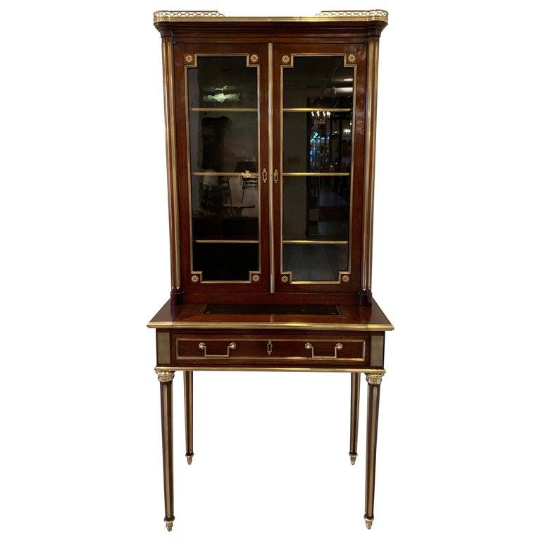 19th Century Louis XVI Style Diminutive Two Part Bookcase on Desk/Secretary For Sale