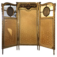 19th Century Louis XVI Style Fire / Dressing Screen or Room Divider