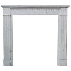 19th Century Louis XVI Style Fireplace in White Carrara Marble