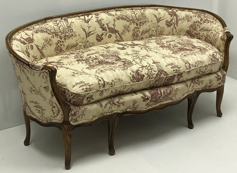 19th Century Louis XVI Style French Chinoiserie Carved Walnut Canape / Settee In Good Condition For Sale In Kennesaw, GA