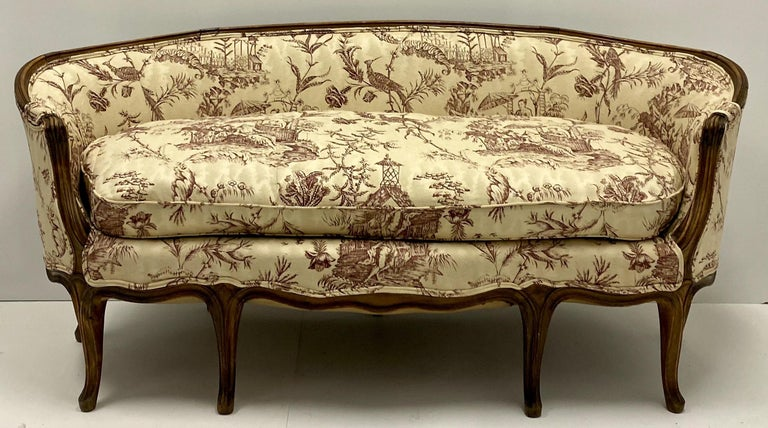 19th Century Louis XVI Style French Chinoiserie Carved Walnut Canape / Settee For Sale 2
