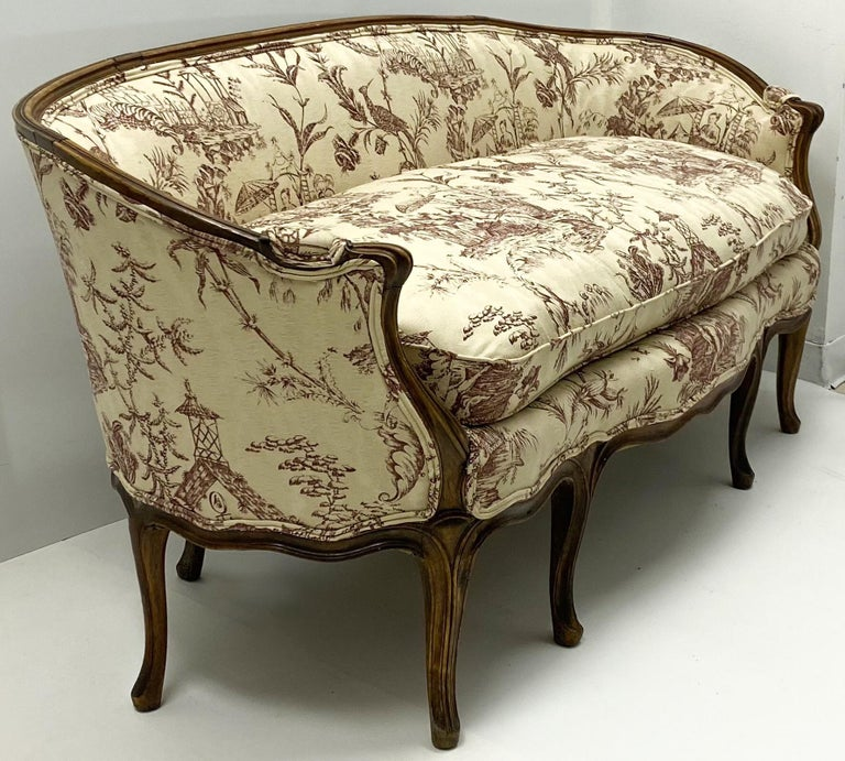 19th Century Louis XVI Style French Chinoiserie Carved Walnut Canape / Settee For Sale 3