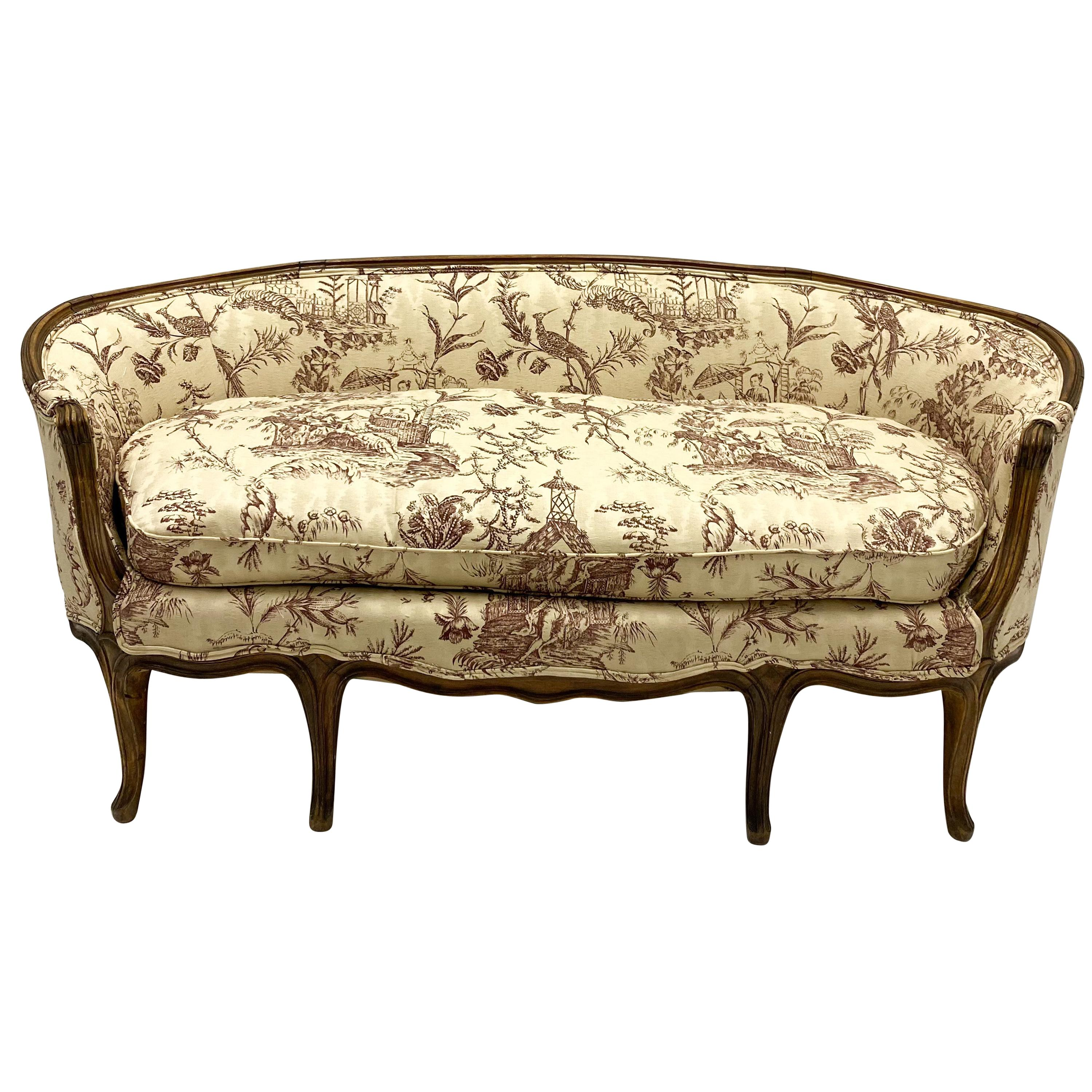 19th Century Louis XVI Style French Chinoiserie Carved Walnut Canape / Settee