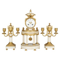 19th Century Louis XVI Style French Mantel Clock and Candelabras