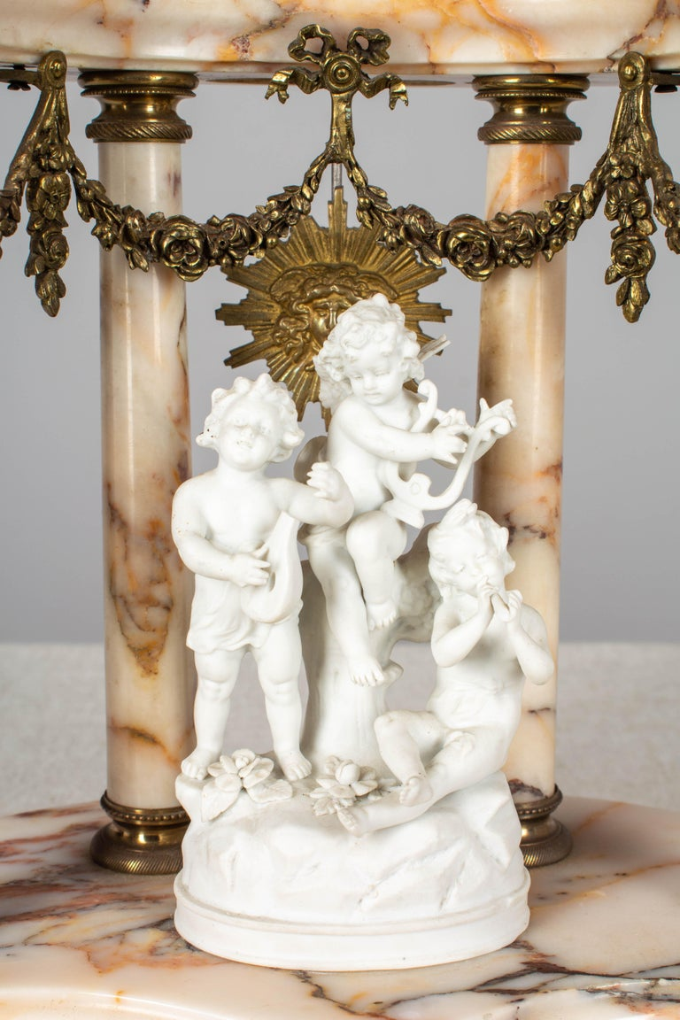 19th Century Louis XVI Style French Mantel Clock Garniture For Sale 5