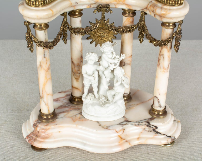 19th Century Louis XVI Style French Mantel Clock Garniture For Sale 7