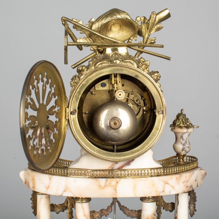 19th Century Louis XVI Style French Mantel Clock Garniture For Sale 8