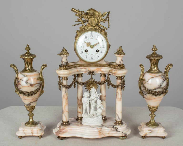 Cast 19th Century Louis XVI Style French Mantel Clock Garniture For Sale