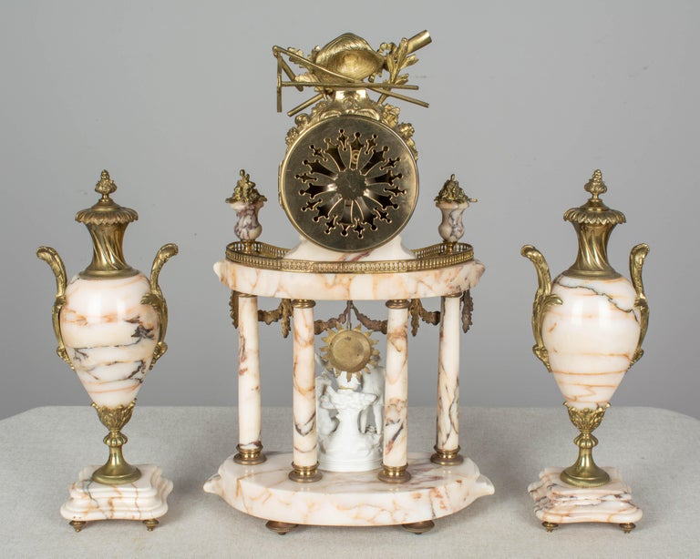 19th Century Louis XVI Style French Mantel Clock Garniture In Good Condition For Sale In Winter Park, FL