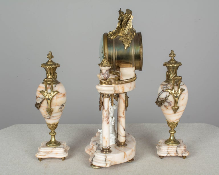 19th Century Louis XVI Style French Mantel Clock Garniture For Sale 1