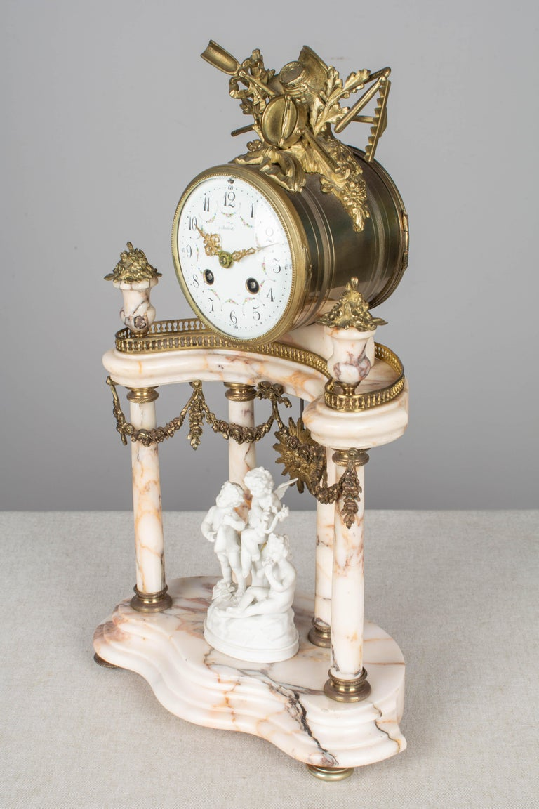 19th Century Louis XVI Style French Mantel Clock Garniture For Sale 2