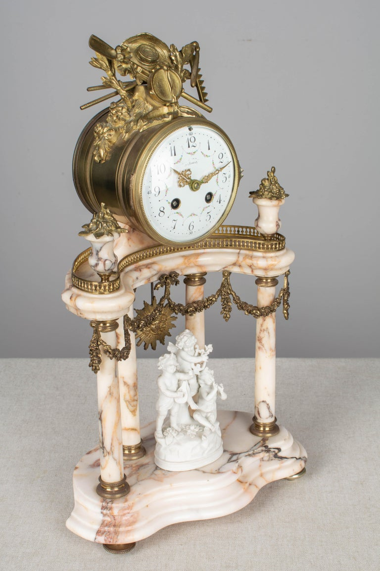 19th Century Louis XVI Style French Mantel Clock Garniture For Sale 3