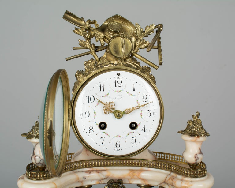 19th Century Louis XVI Style French Mantel Clock Garniture For Sale 4