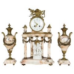 19th Century Louis XVI Style French Mantel Clock Garniture