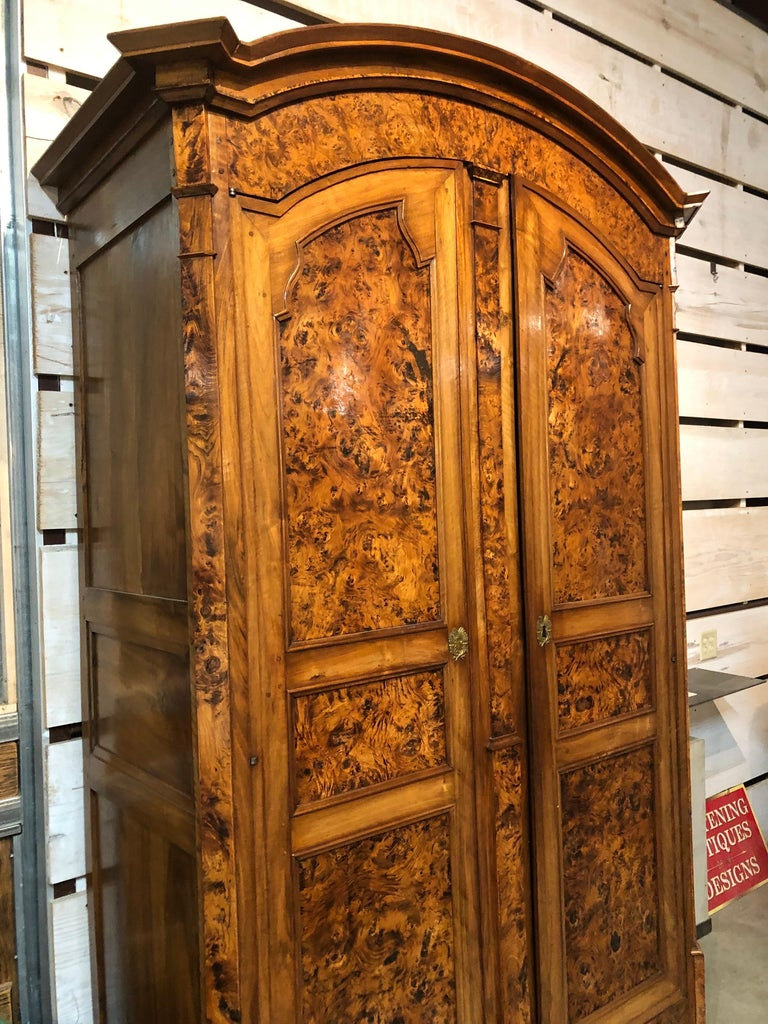 Extraordinary burled ash Louis XVI style French provincial armoire. Beautiful deep rich patination with remarkably figured ash and walnut. Made in Lyon, circa 1850.