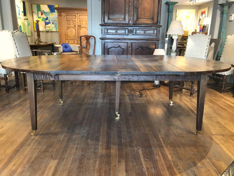 Patinated 19th Century Louis XVI Style French Provincial Extending Walnut Dining Table For Sale