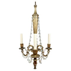 19th Century Louis XVI Style Gilt Bronze and Crystal Chandelier
