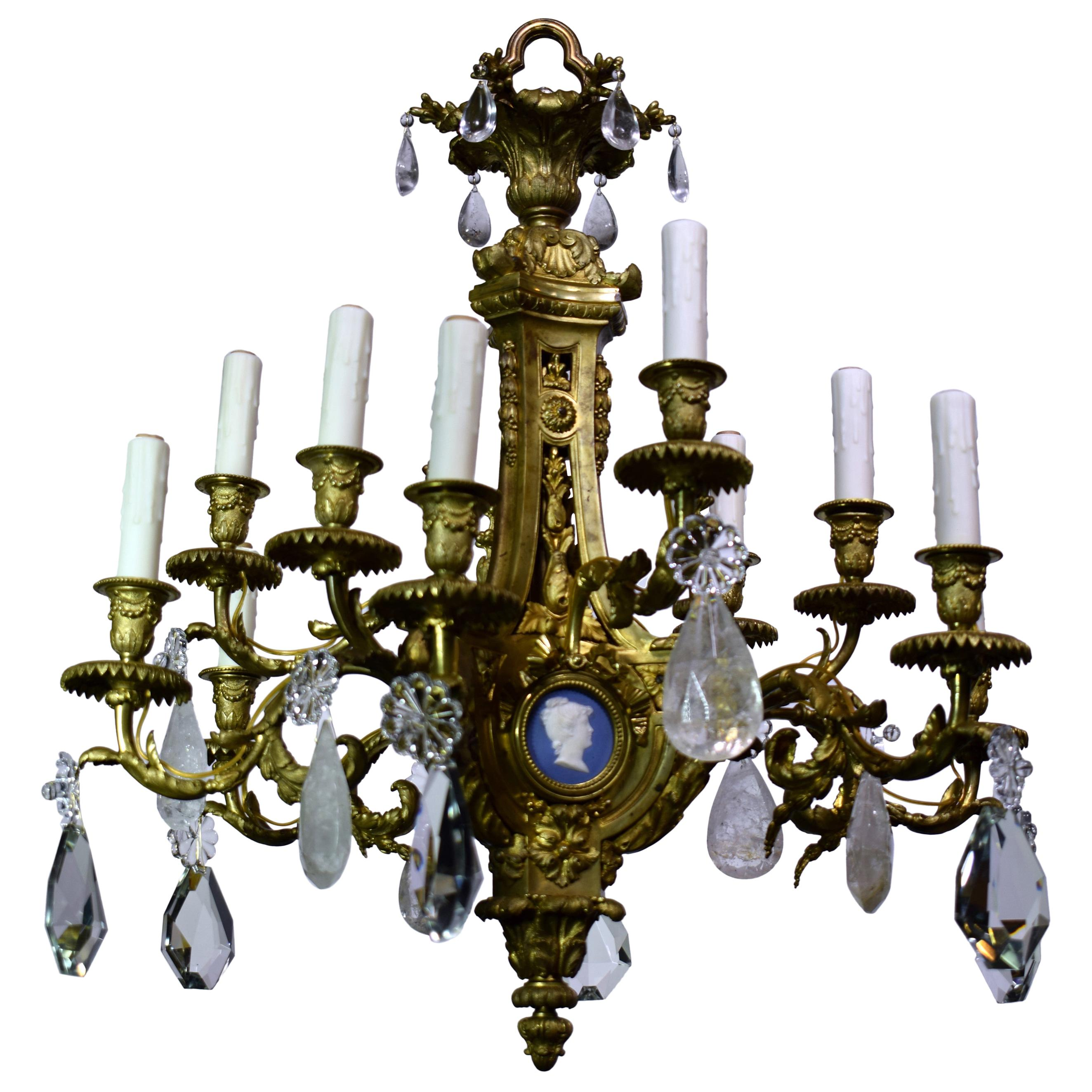 19th Century Louis XVI Style Gilt Bronze, Crystal and Rock Crystal Chandelier