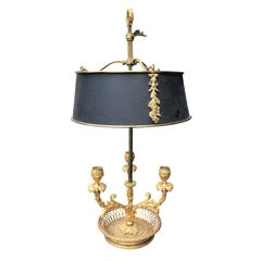 19th Century Louis XVI Style Gilt Bronze Three-Light Bouillote Lamp