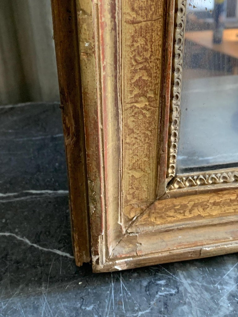 Hand-Carved 19th Century Louis XVI Style Gitwood Mirror For Sale