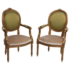 19th Century Louis XVI Style Golden Wood Armchairs