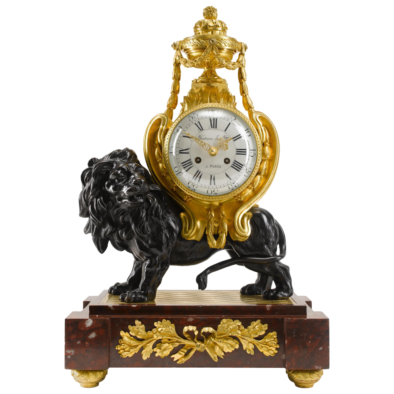 19th Century Louis XVI Style Mantel Clock of a Lion Signed Festeau Le Jeune