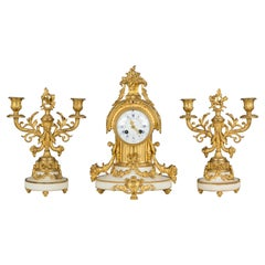 19th Century Louis XVI Style Mantle Clock and Candelabras