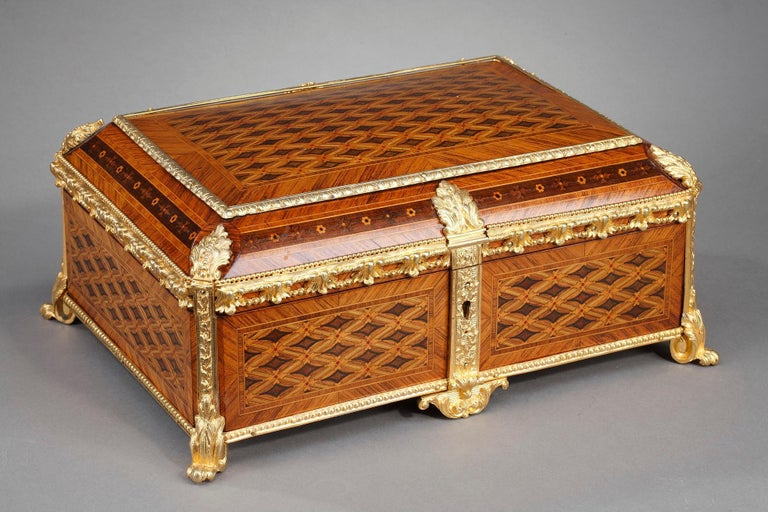 French 19th Century Louis XVI-Style Marquetry Jewelry Box For Sale