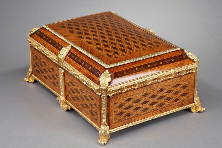 Gilt 19th Century Louis XVI-Style Marquetry Jewelry Box For Sale