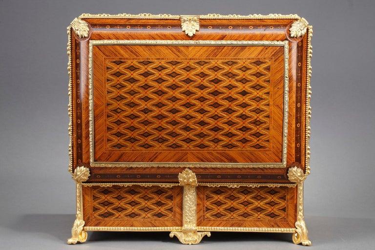Velvet 19th Century Louis XVI-Style Marquetry Jewelry Box For Sale