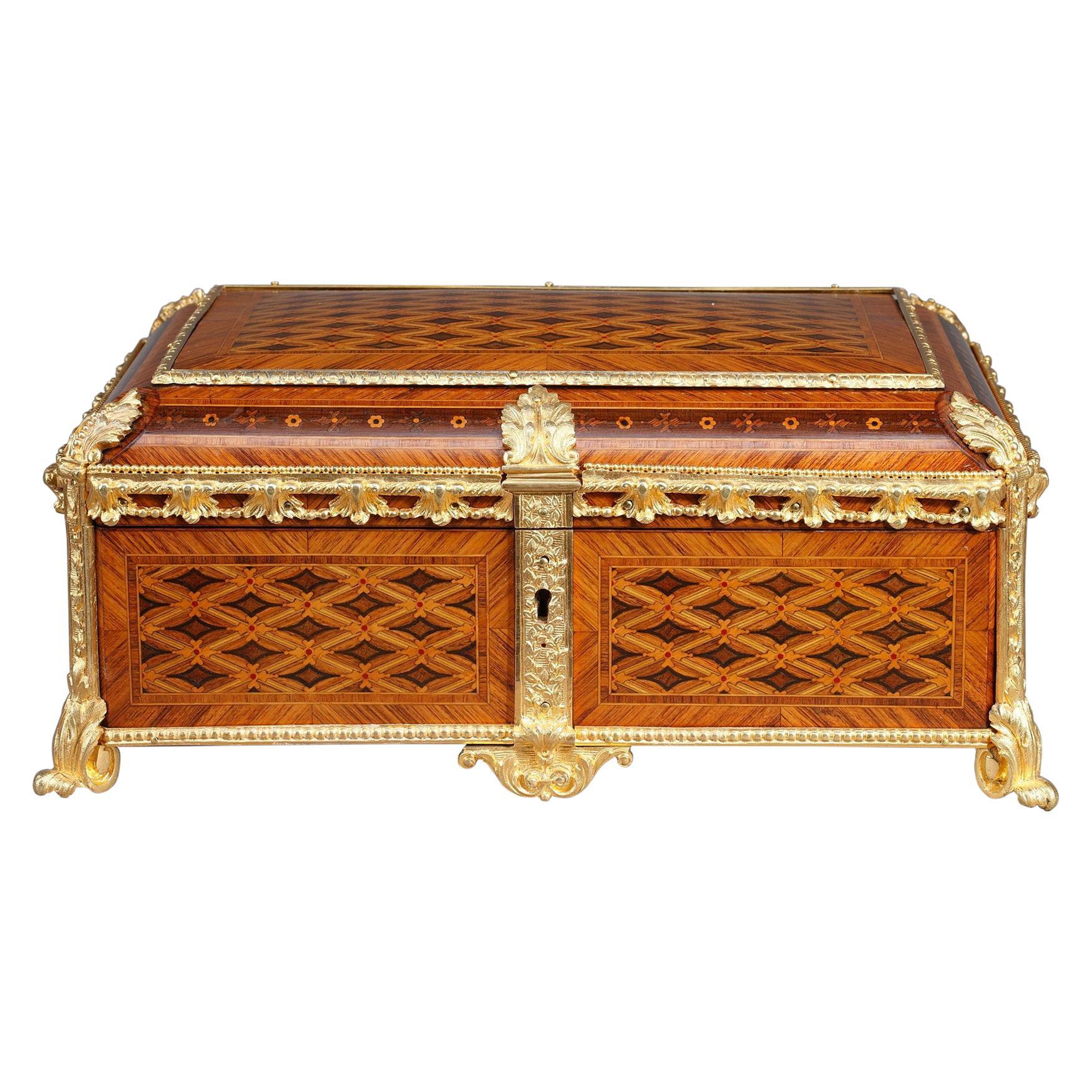 19th Century Louis XVI-Style Marquetry Jewelry Box