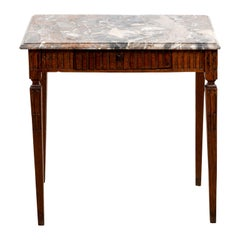 19th Century Louis XVI Style Oak and Marble Top Side Table
