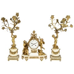 19th Century Louis XVI Style Ormolu Clock Set