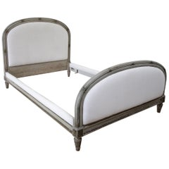19th Century Louis XVI Style Painted and Upholstered Full Size Bed