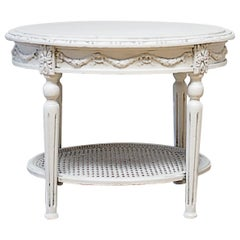 19th Century Louis XVI Style Painted Cane and Marble Side Table with Rose Swags