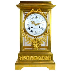 19th Century Louis XVI Style Regulator Gilt Bronze Clock by Prosper Roussel